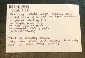 Break Free Together postcard back